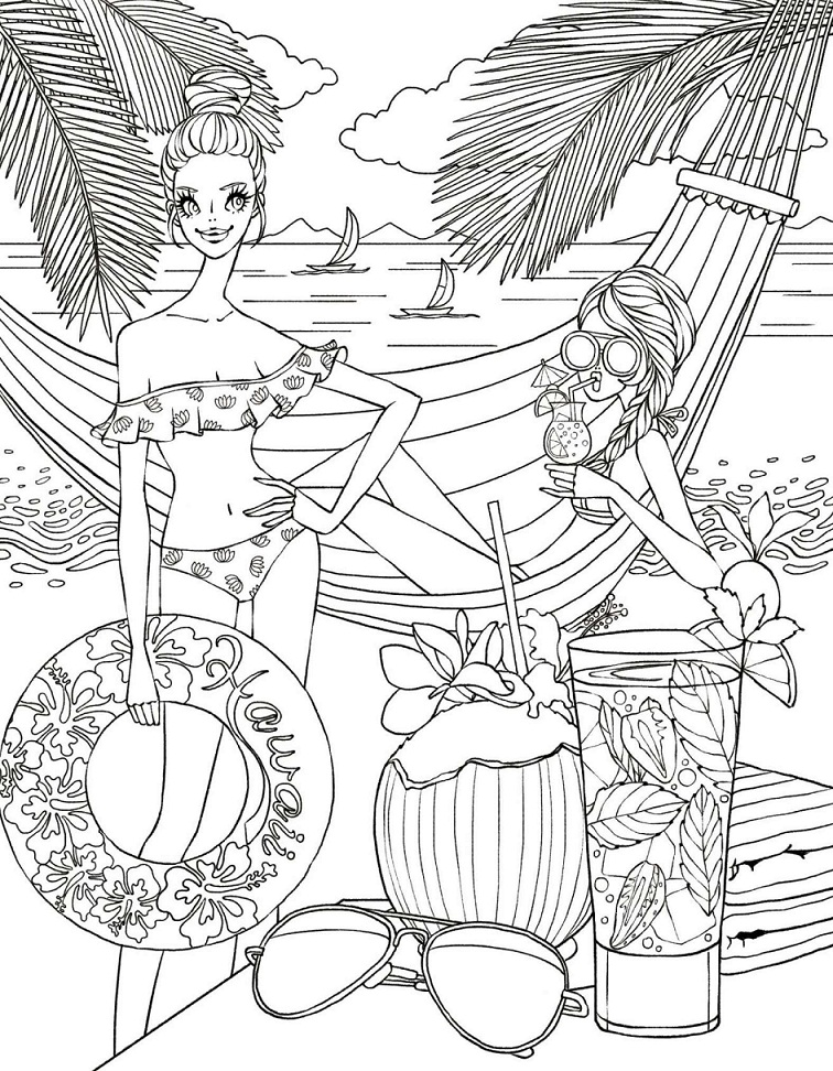Coloring Pages Girls Images, Stock Photos & Vectors | Shutterstock | 972x756