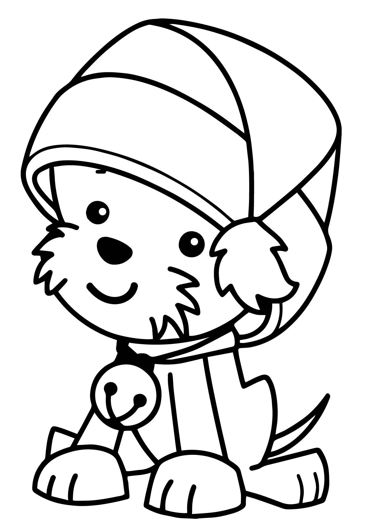 Printable Dog Wearing Christmas Hat Coloring Page For Both Aldults And Kids