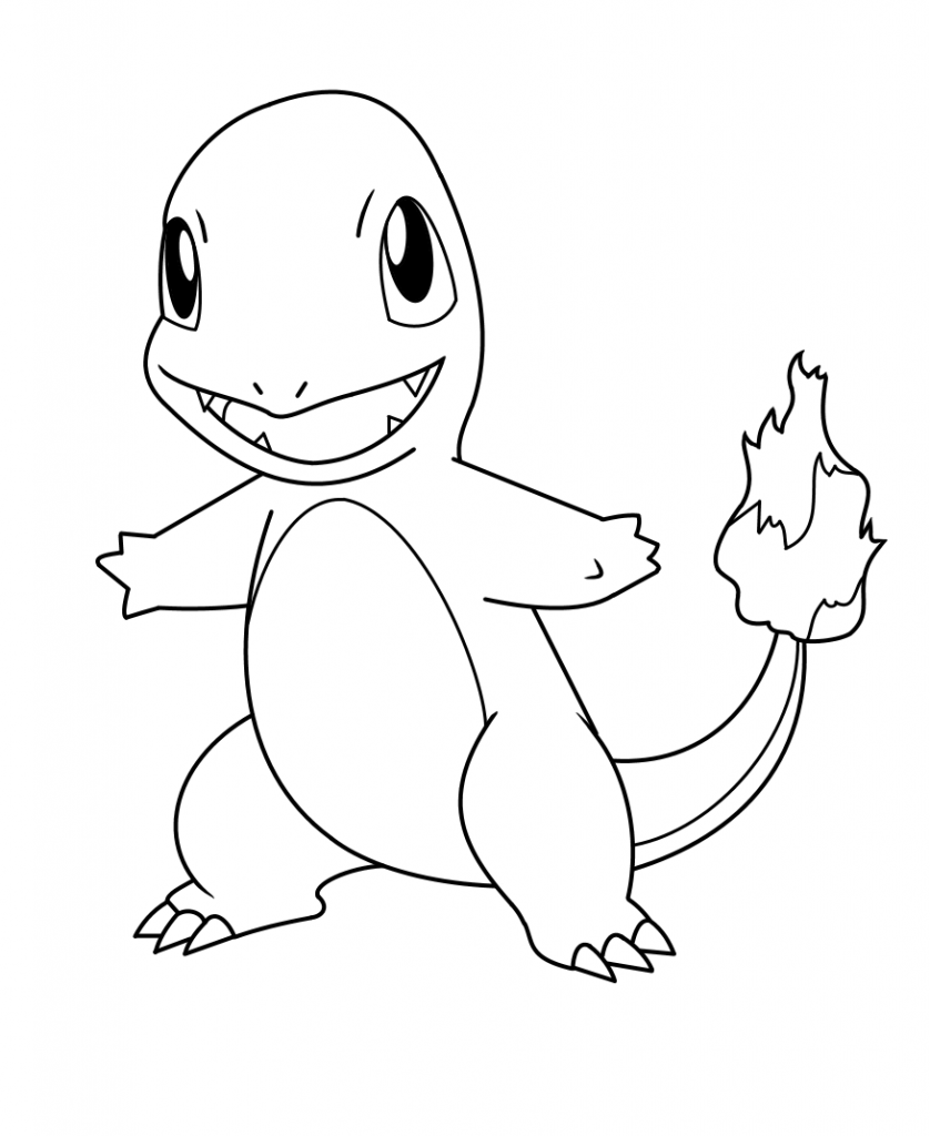 Printable Lovely Charmander Coloring Page For Both Aldults And Kids
