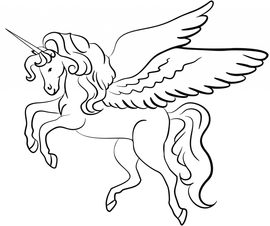 - Printable Winged Unicorn Coloring Page For Both Aldults And Kids.