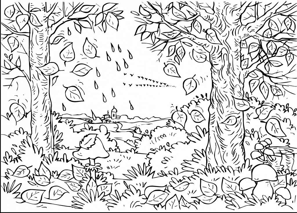 Printable Falling Autumn Leaves Coloring Page For Both Aldults And Kids.