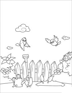 Wooden Birdhouse With Bird Vector Illustration – Coloring Page | 300x232
