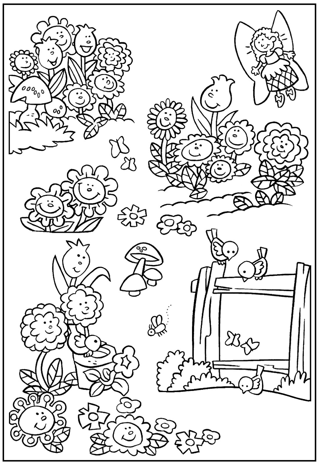 Printable Fairy With Flowers Garden coloring page for both aldults ...