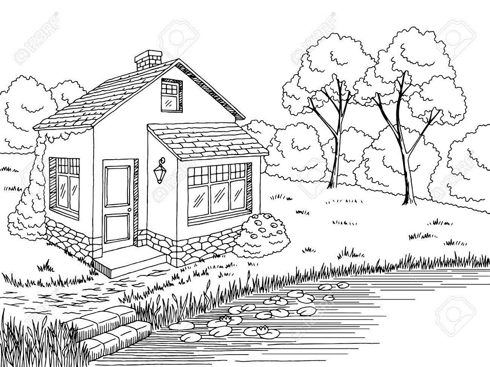 Printable Small House By The Lake Coloring Page For Both Aldults And Kids