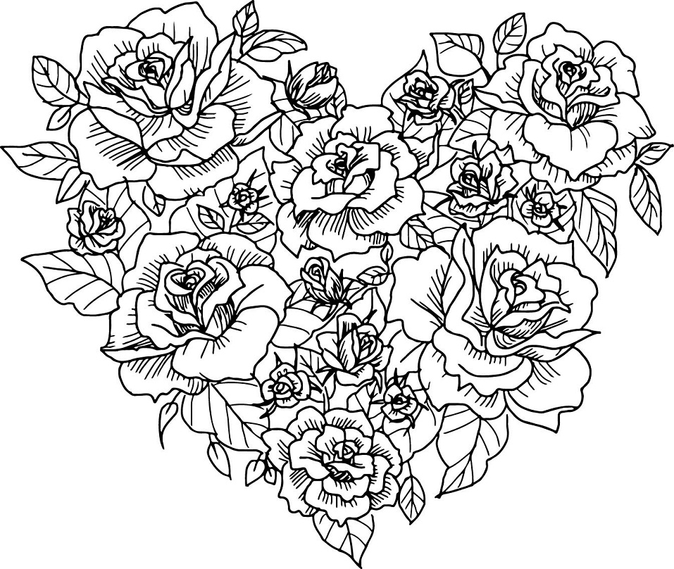 Printable Roses Heart coloring page for both aldults and kids.