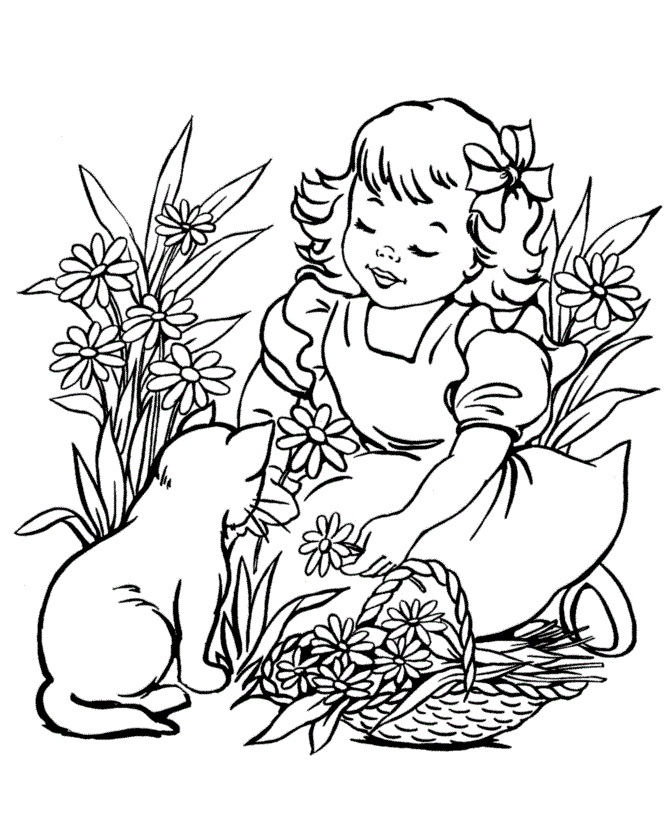Little Girl and Cat in Garden
