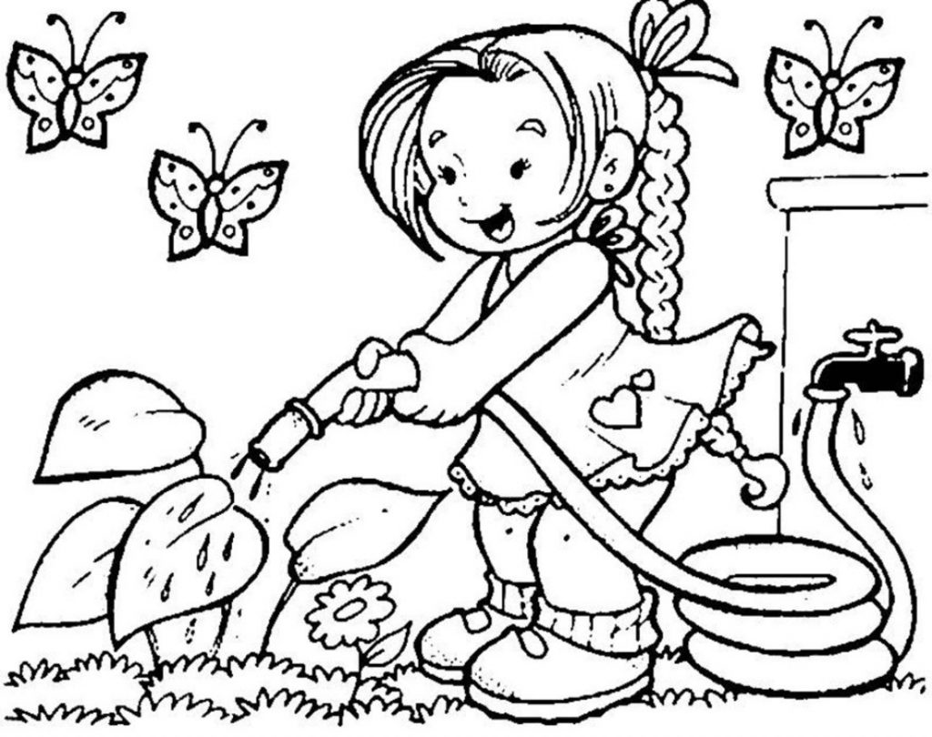 Little Girl is Watering Plants