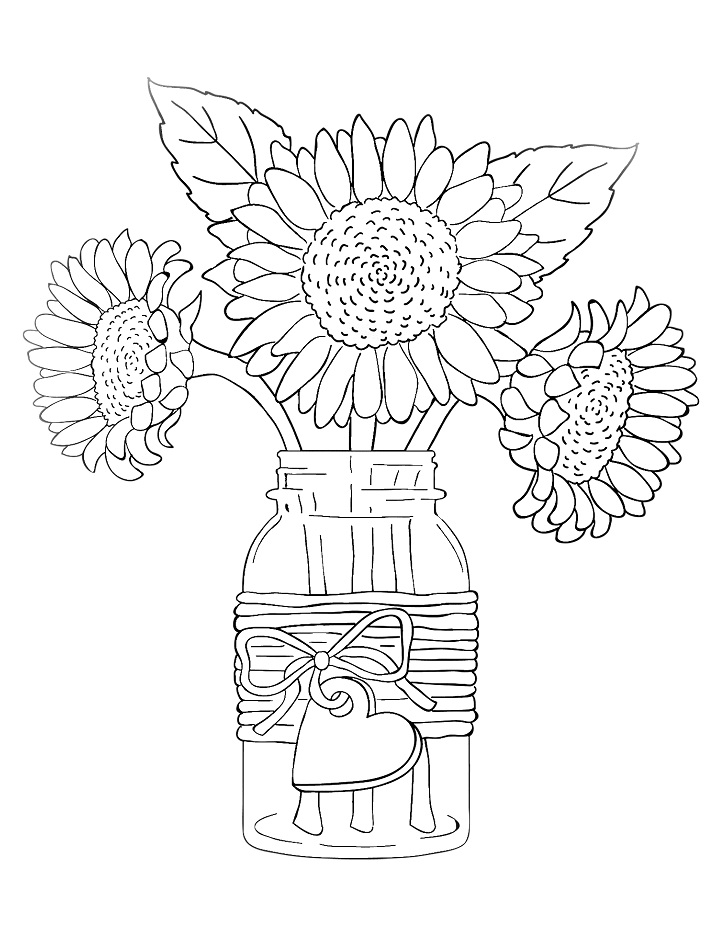 Free Vase And Flowers Coloring Page, Download Free Clip Art, Free ... | 929x718