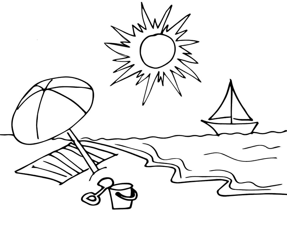Printable Sunny Day on the Beach coloring page for both ...