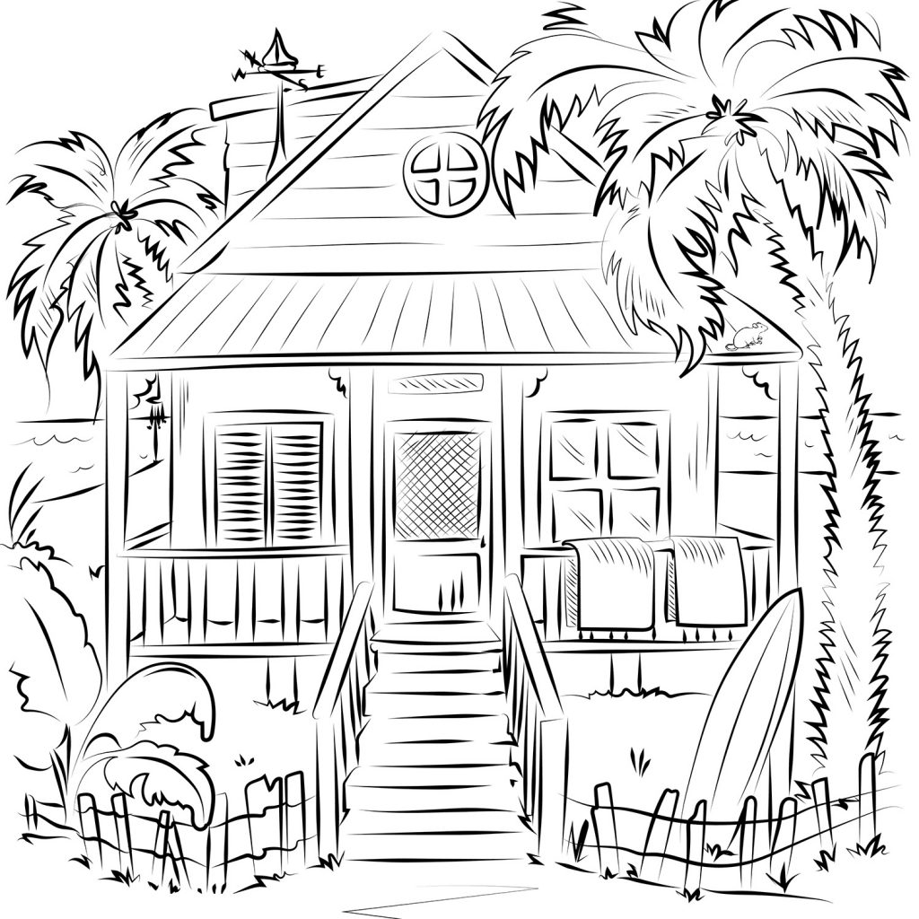 - Printable Beach House Coloring Page For Both Aldults And Kids.
