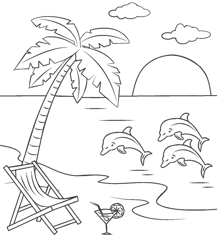 - Printable Beach And Dolphins Coloring Page For Both Aldults And Kids.