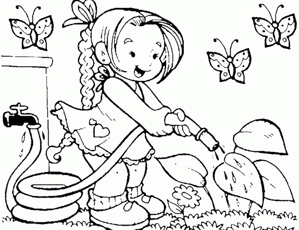 Girl Watering for Plant