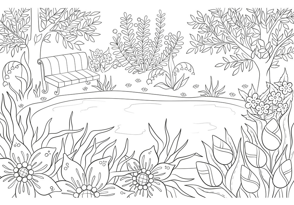 Printable Small Pond Landscape Coloring Page For Both Aldults And Kids