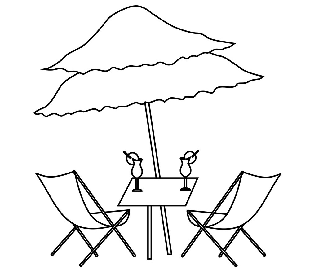 Beach Table with Cocktails